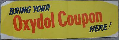 """ORIGINAL TYPOGRAPHIC WINDOW POSTER """"BRING YOUR OWN OXYDOL COUPON"""" 1950s"""