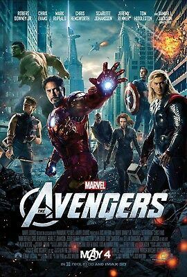 "Marvel THE AVENGERS 2012 Original DS 2 Sided 27x40"" US Movie Poster Chris Evans"
