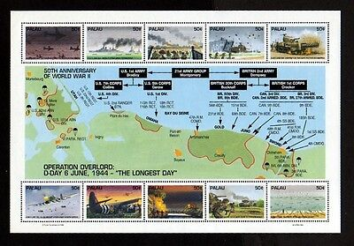 Palau - 1994 - Ww Ii - D-Day - Overlord - Normandy - Map - Mint Sheet!
