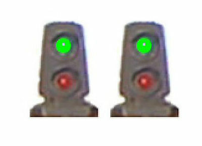 1 Pair (2) HO Scale 2-Light Dwarf Signals Brass Green over Red LEDs Tomar H852