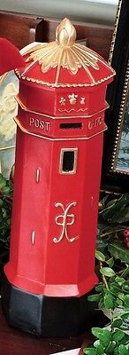 Byers Choice Red, Gold&Black English Mailbox Great Accessory to Postman Caroler!