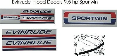 Evinrude Outboard Hood Decals 9.5 hp Sportwin