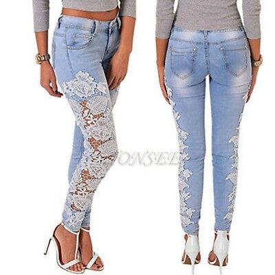 Women Sexy Denim Lace Skinny Stretch Pant High Waist Hole Soft Slim Pencil Jeans