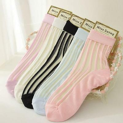 Summer Cool Woman's Ultrathin Socks Transparent Crystal Lace Elastic Short Socks