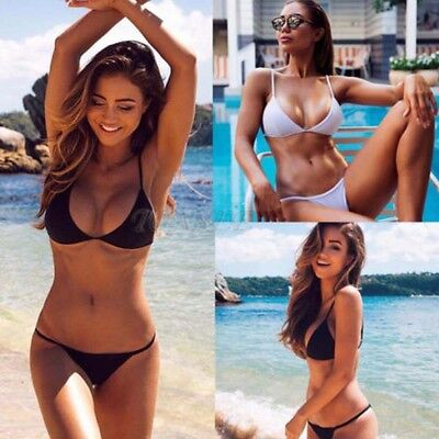 New Women Sexy Swimwear Bikini Set Bandeau Push-Up Padded Bra Swimsuit Beachwear