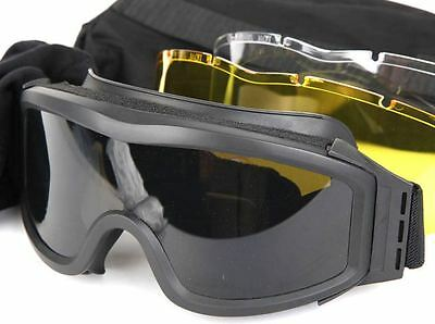 AIRSOFT PROFILE STYLE LARGE HIGH IMPACT GOGGLES BLACK SWAT + clear yellow