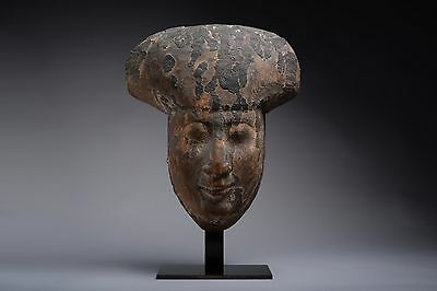 Ancient Egyptian Ptolemaic Period Wooden Face Mask - 200 BC