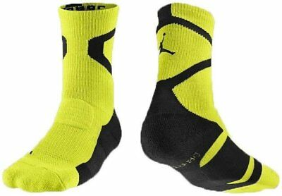 Nike Air Jordan Jumpman Volt and Black Crew Sock Dri-Fit NWT