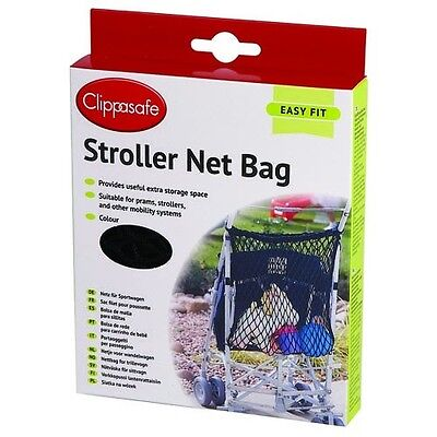 Clippasafe Baby Toddler Stroller Pushchair universal Net Storage Bag BLACK NAVY