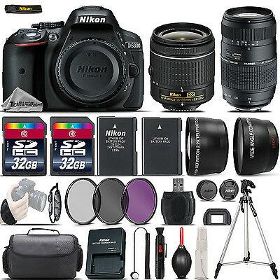 Nikon D5300 Digital SLR Camera + 18-55mm VR + 70-300mm + 64GB & More -4 Lens Kit