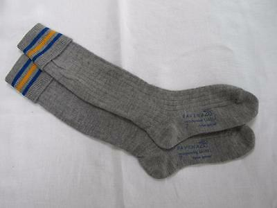 VINTAGE 1940's WW2 ERA GREY BLUE & YELLOW BOY'S SCHOOL EVACUEE SOCKS - SIZE 7""