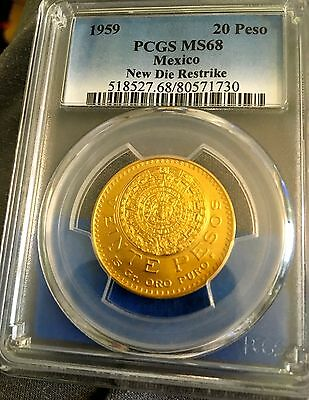 Mexican 20 Pesos Gold Coin PCGS 68 New Die Restrike