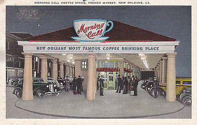 Postcard NEW ORLEANS Morning Call Coffee Stand French Market Restaurant