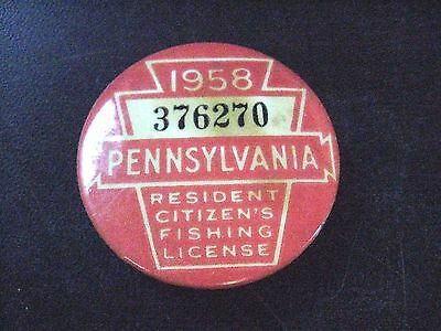 Vintage 1958 Pennsylvania PA Resident Fishing License Button 1-3/4""