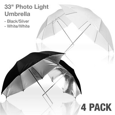 4pcs Photo Studio Black Silver Reflective Umbrella White Translucent Diffuser