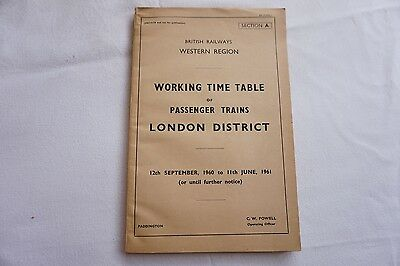 Working Timetable Western Region 1960 1961 London District Sect A