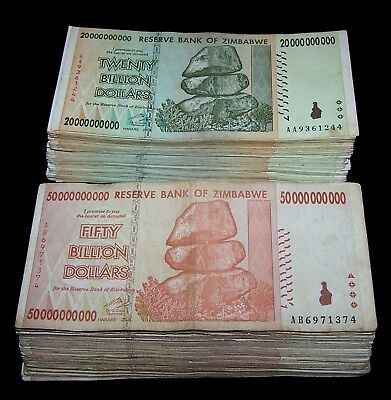 200 Zimbabwe Banknotes-100 x 20 & 50 Billion Dollars - AA/AB 2008 / circulated