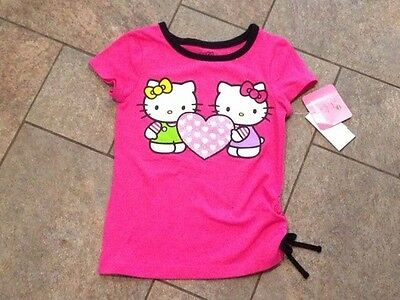 NWT Hello Kitty Shortsleeved T Shirt Top Pink Black Friends Glittery Hearts 2T
