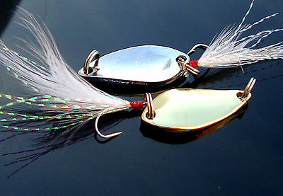 10PCS Fishing Fly Spoon Lure baits  Feather Treble Hook 2g-5g