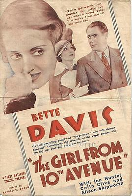 BETTE DAVIS IS THE GIRL FROM 10TH AVENUE ORIGINAL 1st NATIONAL US HERALD