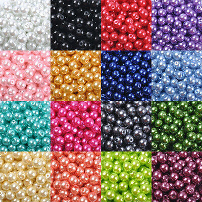 14 Colors  Wholesale Glass Pearl Round Spacer Loose Beads 4mm/6mm/8mm/10mm DIY