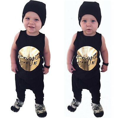 Baby Boys Toddler Casual Sleeveless T-shirt Tops+Harem Pants 2pcs Outfits Sets