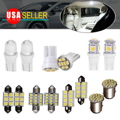14x White Bulbs Interior Package Kit T10 31mm 1157 Led Dome License Light Bulbs
