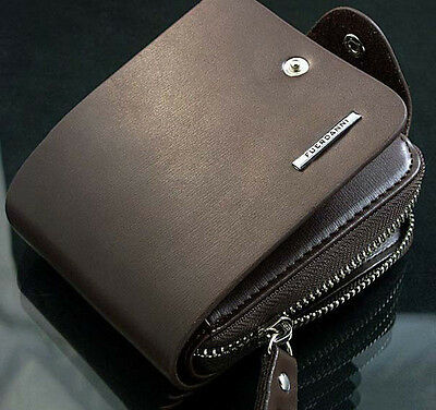 Men's Leather ID Card Holder Zip Handbag Clutch Billfold Checkbook Wallet Purse