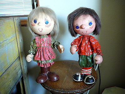 """PAPER MACHE Vintage 1970s HAND CRAFTED BOY & GIRL SODA BOTTLE DOLLS - 15"""" TALL"""