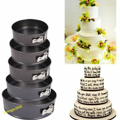 Set Of 5 Non Stick Springform Cake Pan Baking Bake Round Tray Tins Wedding Party