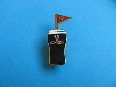 Guinness Pint Golf 19th Hole Pin Badge. Red Flag,  VGC. Unused.  Enamel.