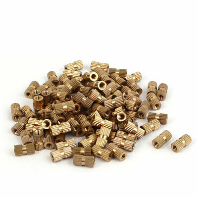 M3 x 10mm Brass Cylindrical Knurled Threaded Round Insert Embedded Nuts 100PCS