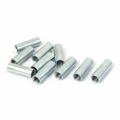 M10 Female Thread Rod Bar Stud Metal Round Coupling Connector Nuts 10 Pcs