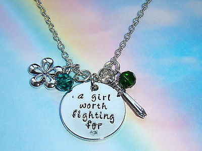 Mulan Inspired A Girl Worth Fighting For Crystal Charms Silver Necklace