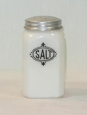 Anchor Hocking Glass SALT SHAKER White with Black Lettering