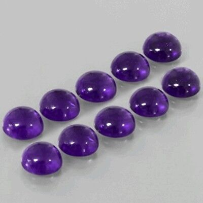 10 Pc WHOLESALE LOT OF 7x7mm ROUND CABOCHON NATURAL AFRICAN AMETHYST GEMSTONE