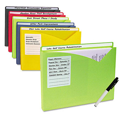 "C-Line Write-On Expanding Poly File Folders 1"" Exp. Letter Assorted, Pack of 10"