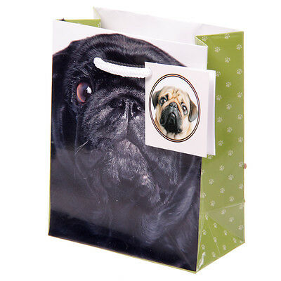 Cute Black Pug Dog Small Gift Bag With Tag - 11 x 14 x 6 cm