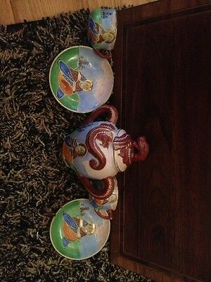 Tea Caddy Tea Cups Saucers Antique Lucky China Over Eighty Years Awesome Rare