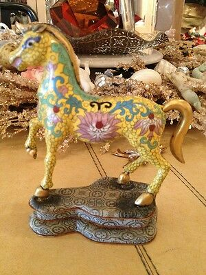Rare Gilt Antique  And Cloisonne Horse Exquisite