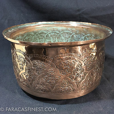 Large Arts & Crafts Mission Copper Jardiniere Top hat Hand Engraved Ornate Fun
