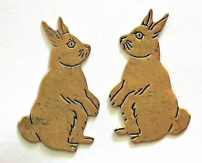 Vintage Rabbit Cabochon Stamping Findings Brass Bunnies Bunny Rabbits NOS #1107V