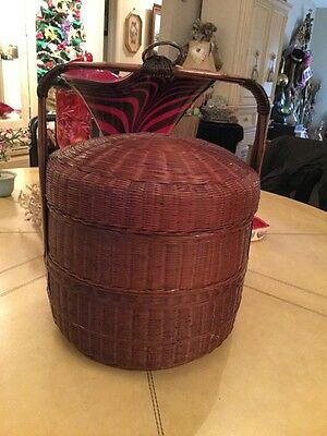 Antique Chinese Woven Wicker Double Tiered