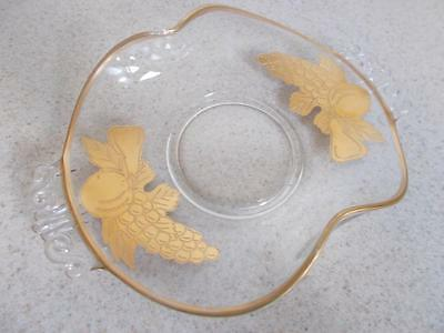 Clear glass folded bent rolled EDGE FRUIT GOLD OVERLAY candy DISH PLATE Vintage