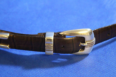 NEW Enmon Croco Embossed Leather Belt Size 46 Concho Punched w/ Silver Set Brown