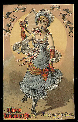Union Hardware Roller Skate Trade Card, Bay State Rink Ad + Pretty Skater  Tc561