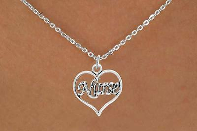 New Nurses Heart shaped Silvertone Necklace on Snake Chain