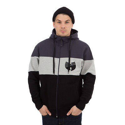 Wu-Tang Clan - 3 Tone Stripe Zip-Up Hoodie Black / Heather Grey / Antracite