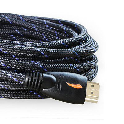 25FT Braided Gold 4K HDMI Cable Cord V1.4 1080P for LCD DVD HDTV Samsung HDTV