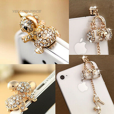 Bling Diamond 3.5mm Anti Dust Plug Stopper- Fashion Handbag Pretty Cute Koala
